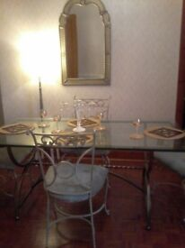 Designer italian table and 4 chairs bronze gold need gone asap reduced to £70