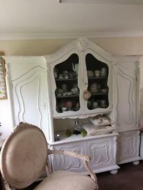 Ornately Shapes Beautiful white Shabby French Dresser