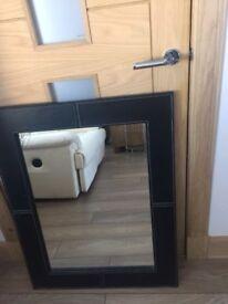 Black Leather Mirror