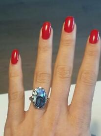 Incredible Oval Turquoise Oyster Pearl Large Vintage Silver Engagement Anniversary Ring