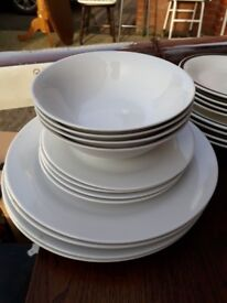 Set of 4 Dinner plates, side plates bowls. White