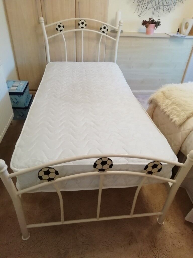 Kids Single Bed Frame With Triple Football Detail At Both Ends In