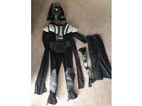 DARTH VADER OUTFIT WITH MASK size small (ages 5-8)