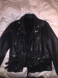 Mens All Saints leather jacket MEDIUM NEVER WORN £199