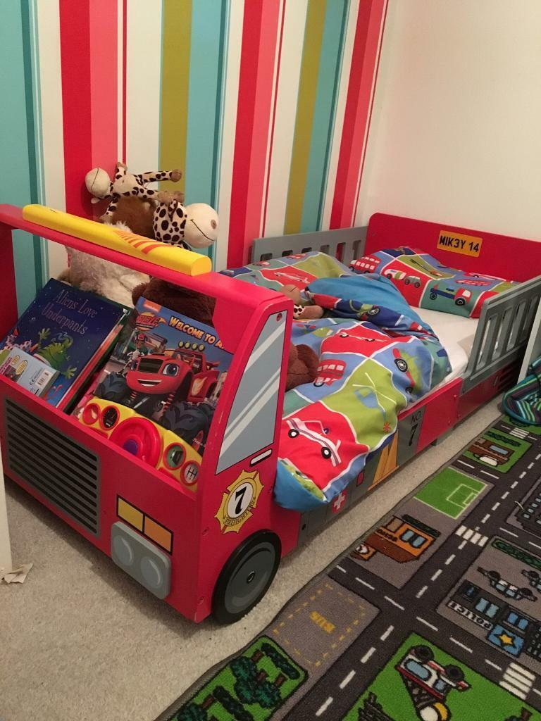 Kid Craft Toddler Junior Cot Bed Fire Engine Car Bed In High Green
