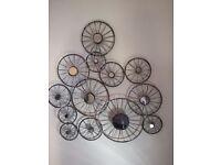 Bicycle wheel hanging mirror