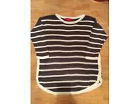 Grey & Cream stripe 3/4 sleeve jumper