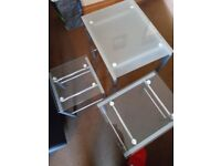 3 glass side tables