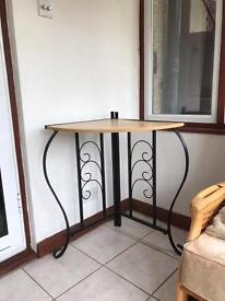 Wooden corner table with metal frame and legs