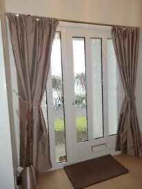 Beautiful thermal lined silk effect curtains in a lovely mink / beige colour