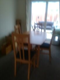Beech effect Dining table and 4 Chairs Like New compact space saver