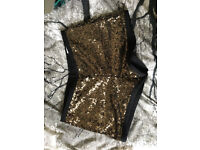 MANGO Gold Sequin Party Shorts for Sale - £10 NEW with tags, Size UK 8, EU 36
