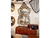 Vintage carved wooden silvered mirror