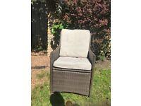 Wicker garden chairs and garden table