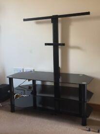 Black glass TV stand with bracket