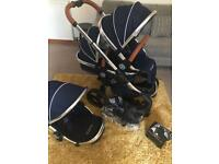 iCandy Peach Double Pram/Stroller - Twin - Royal Blue Limited Edition