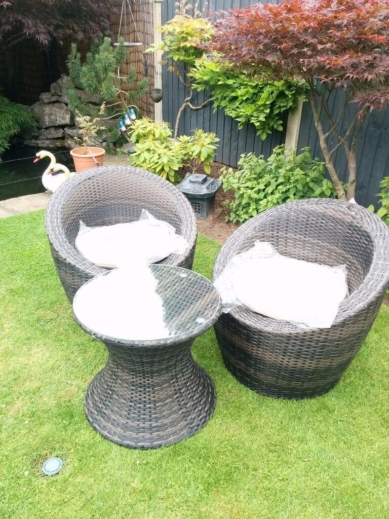 rattan garden furniture pod 3 piece set