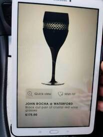 John Rocha black cut red wine glasses x3
