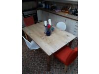 Solid wood dining table, rustic, no varnish with 4 chairs