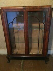 Dark wood glass cabinet