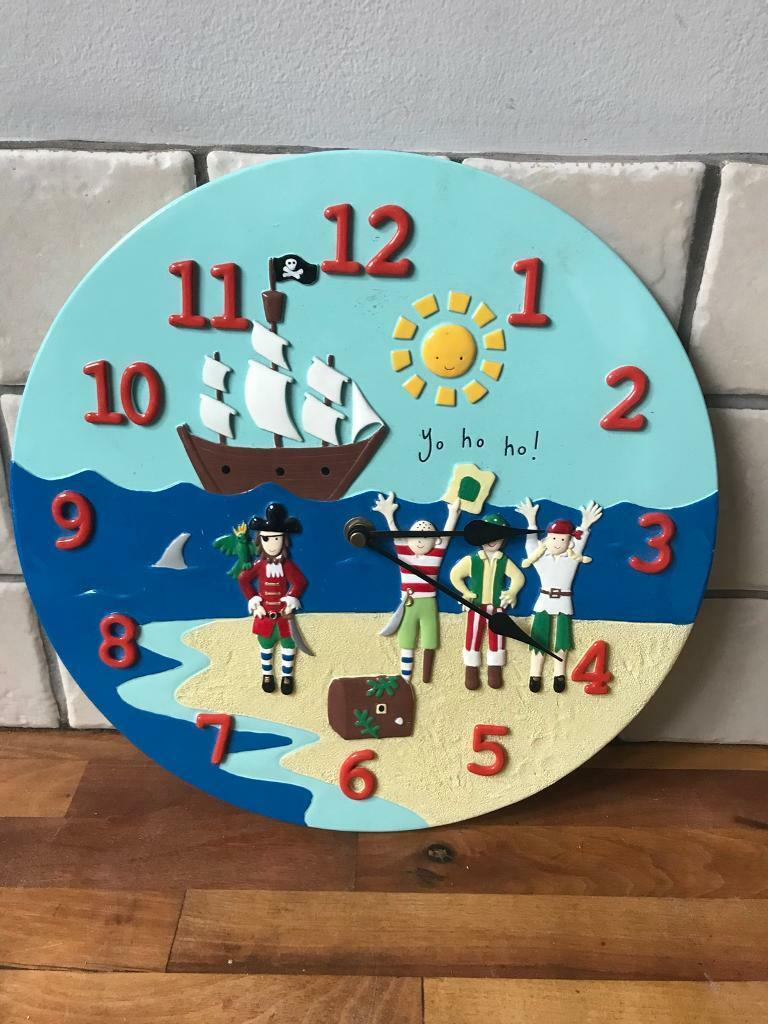 Lovely Ceramic Childrens Pirate Wall Clock In Ruddington