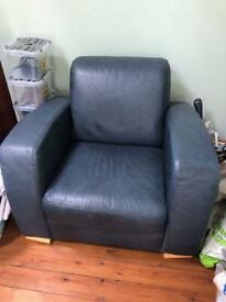 Blue leather sofa and armchair. Can deliver.