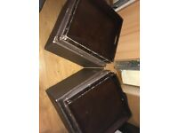 2 Costco storage boxes/stools with tray lids (leather effect)
