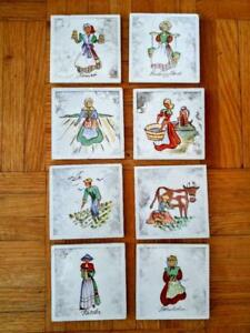 Coasters Ceramic Mid-Century MCM KAJ POLK DENMARK Hand-painted 8 Drink Mats Cork bottoms Native Costumes Europe
