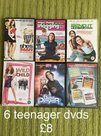 6 teenager dvds.