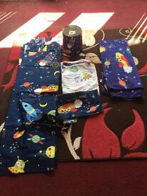 Children's space theme bedroom set. Bedding, curtains lamp shade