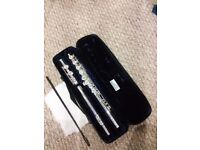 Silver flute with case.