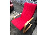 Red fabric Ikea Poang Chair