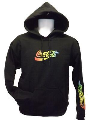 New Coca-Cola Adult Mens Sizes S-M-L-XL-2XL Black Rainbow Hoodie $59