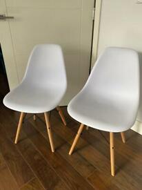 2x Eames Style Chairs White