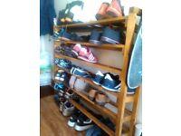 Pine shoe shelf £15