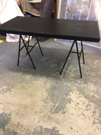 BLACK CORK TOP DINING TABLE. GC