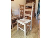 6 x High Back Solid Pine Dining Chairs With Rattan Weaved Seats.