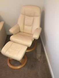 Cream recliner with matching stool