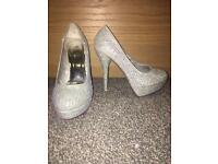 Silver Diamante Heels Size 6 never worn