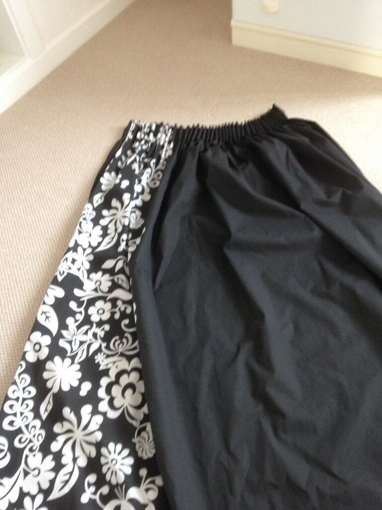 """Pair of black and white unlined curtains 66""""x72"""""""