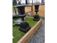 Cast iron garden urns pots planters water taps and pumps