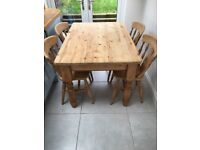 Solid pine, Farmhouse style dining table and 4 chairs