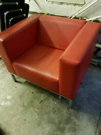 Red leather office reception chair