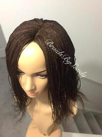 Feathers style Hand Braided wig Hair Extension, colour deep brown or black