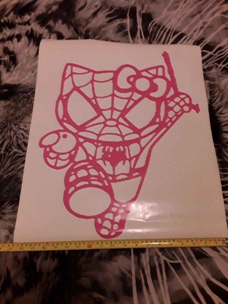 Big pink hello kitty spiderman sticker