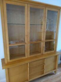 LARGE MARKS & SPENCER SOLID BEECH WOOD DISPLAY UNIT /DRESSER EXCELLENT CONDITION LOCAL DELIVERY