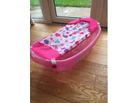 Pink baby bath with newborn sling. Top and tail bowl