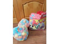Mickey mouse play tent, tunnel and ball pit alongside two ball pit ball bags