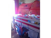 Kids whitewashed midsleeper with matress