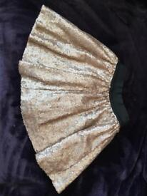 River Island gold sequin skirt 5/6 years